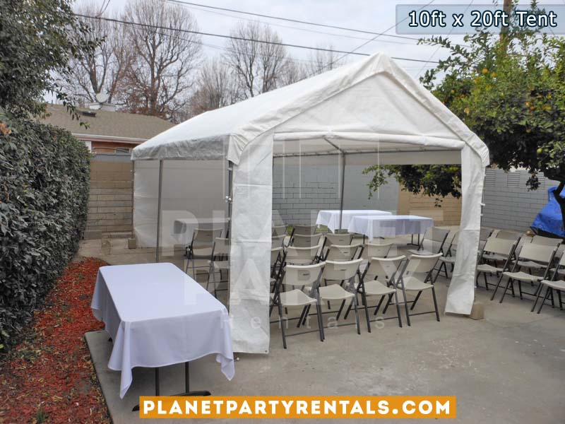 10ft x 20ft Tent with walls  and entrance with white tables and chairs/table cloths | San Fernando Valley Tent Rentals | Party Supplies