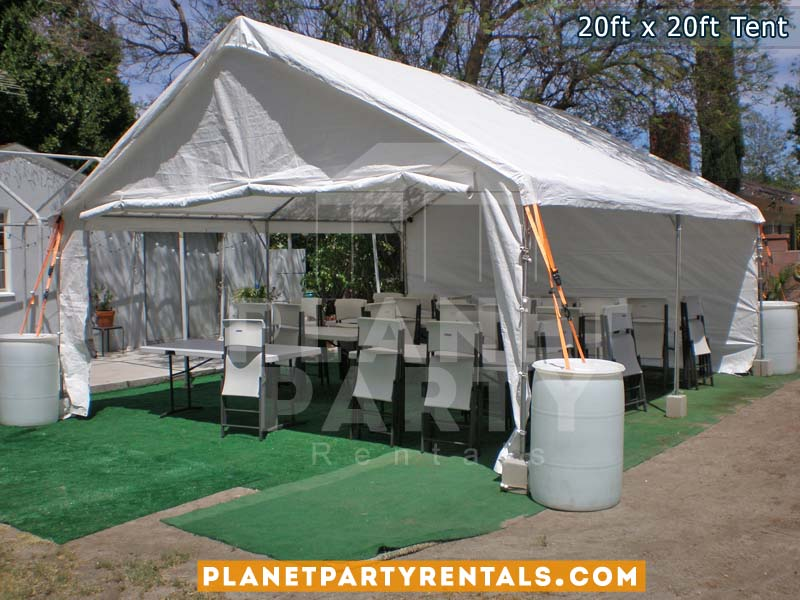 20ft x 20ft White Party Tent with Sidewalls and White Plastic Chairs with White Rectangular Tables