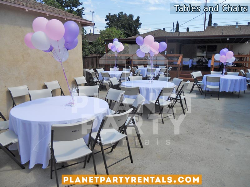 White Plastic Chairs With Round Table With White Round Table Cloth