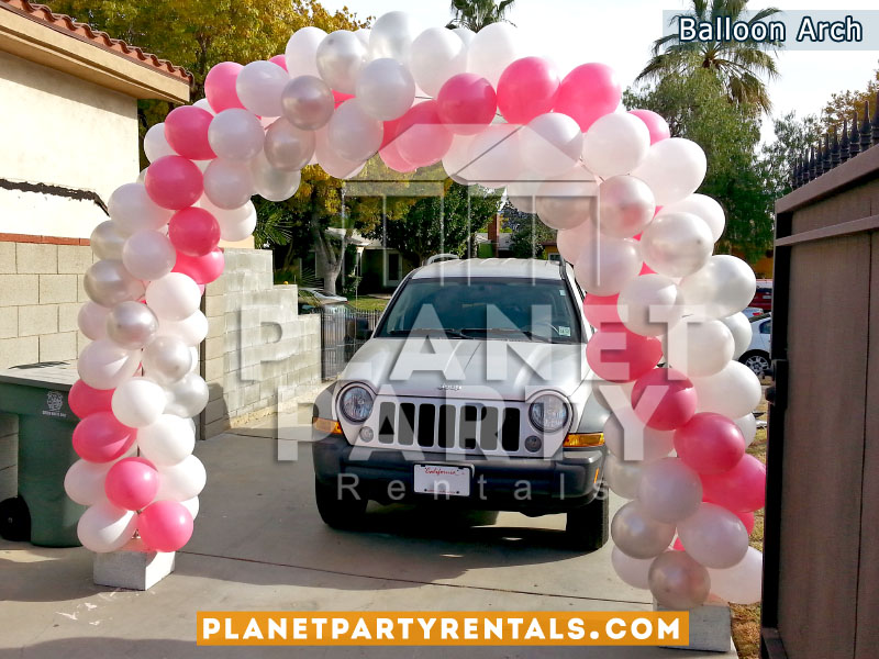 White, Pink, and Silver Balloon Arch Spiral Design | Balloon Decorations