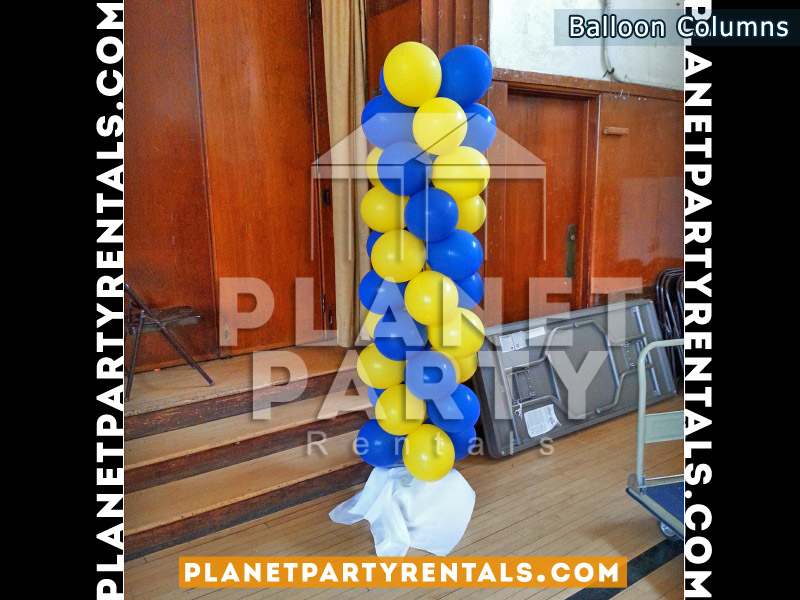 Balloon Column with Royal Blue and Yellow Balloons | Balloon Decorations