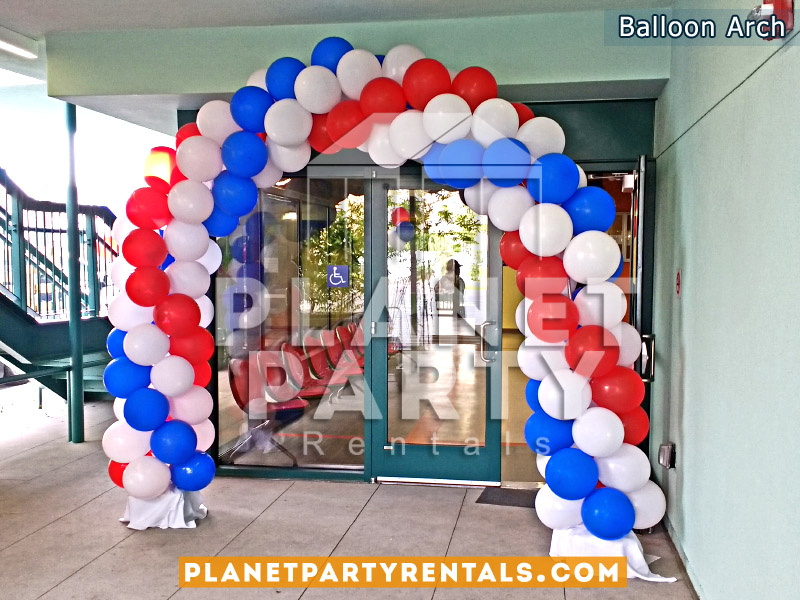 Balloon Arch Spiral Design Red, Royal Blue and White.