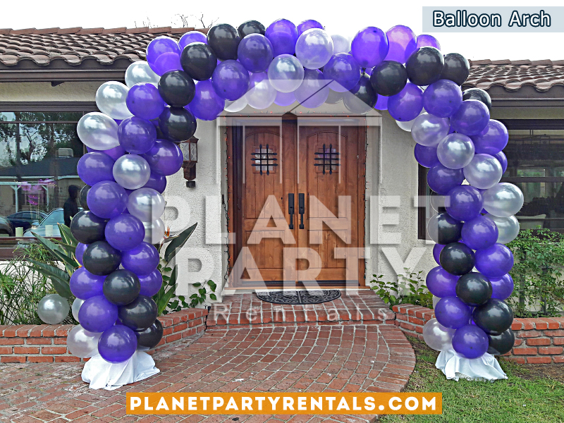 Balloon Arch with Black, Purple, and Silver Balloons | Spiral Balloon Design