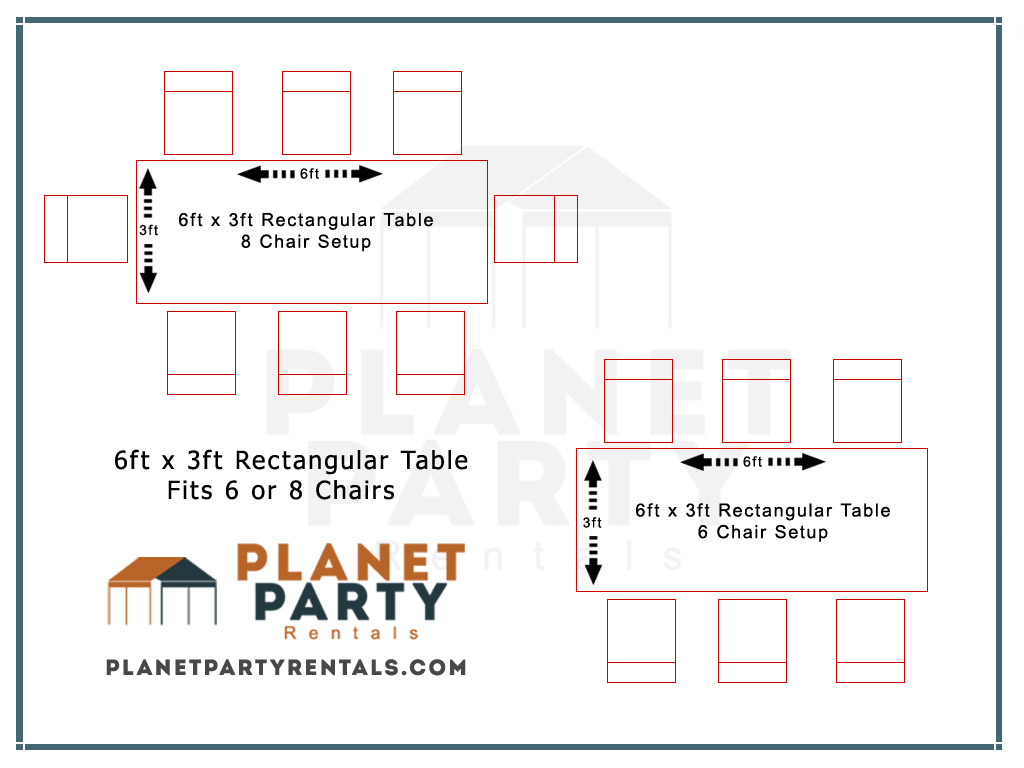6ft Rectangular Table Chair Layout  sc 1 st  Planet Party Rentals : layout chairs - Cheerinfomania.Com