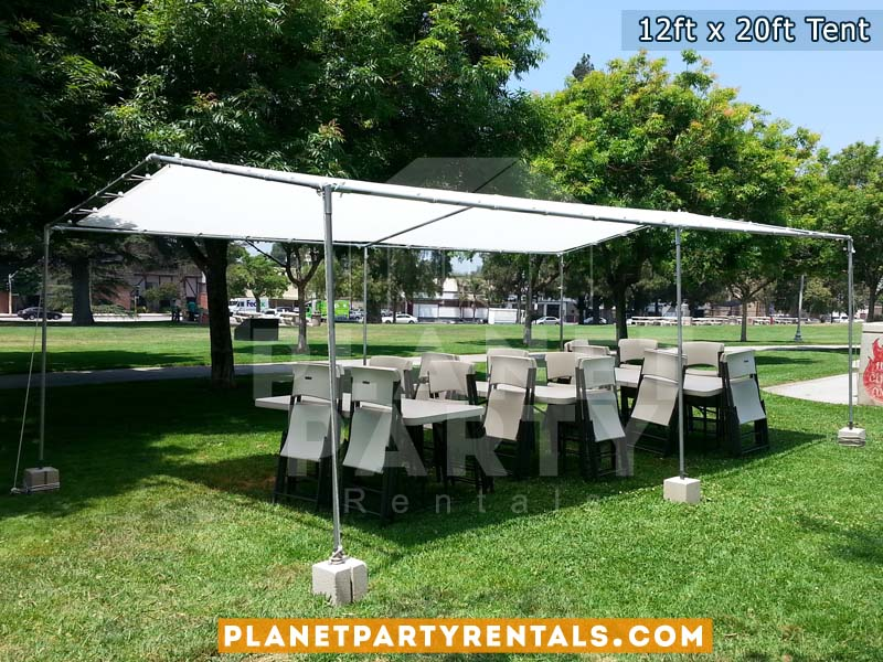 12ft x 20ft Tent with Rectangular Tables and White Plastic Chairs on Grass. & 12ft x 20ft Tent Rental