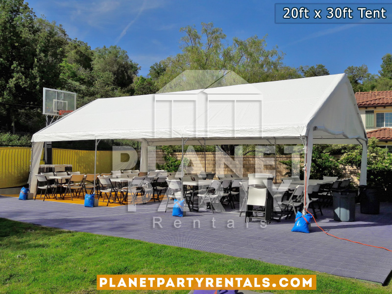 20 x 30 White Tent with white plastic chairs and rectangular tables