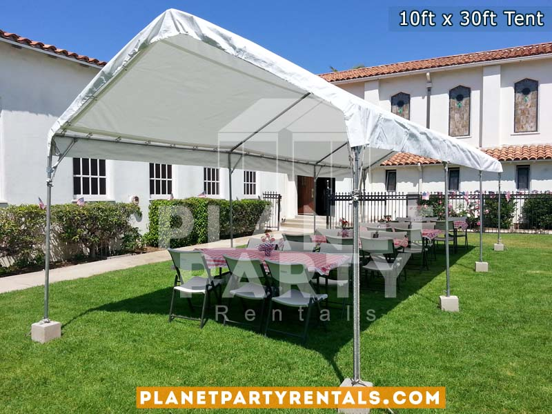 10ft x 30ft Tent with rectangular tables and chairs | Party Events Weddings Church Events Birthdays