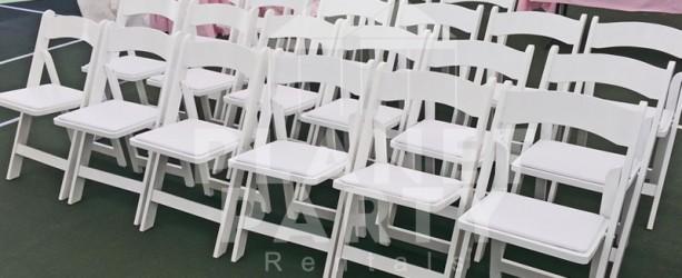 Wooden Folding Chair | White Wooden Padded Chair Rentals - San Fernando Valley